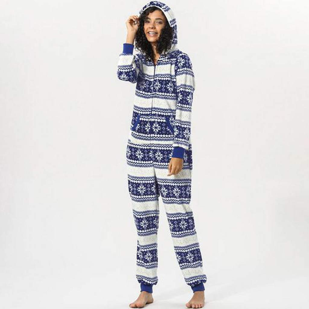 a322153e619812 Franterd Adult Womens Christmas Snowflake Print Hooded Flannel Onesies  Pajamas Romper Cosplay Clothing Hoodie Jumpsuit at Amazon Women s Clothing  store