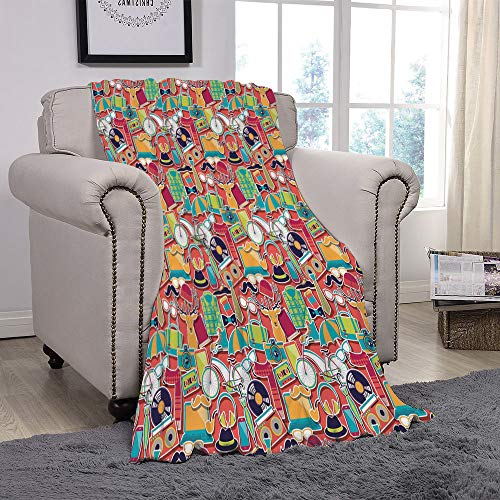 Light weight Fleece Throw Blanket/Indie,Colorful Hipster Design Elements Old Fashioned Culture Technology Urban Theme Funky Decorative,Multicolor/for Couch Bed Sofa for Adults Teen Girls Boys
