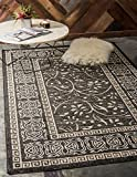 Unique Loom Outdoor Botanical Collection Carved Border Transitional Indoor and Outdoor Flatweave Black  Area Rug (9' 0 x 12' 0)