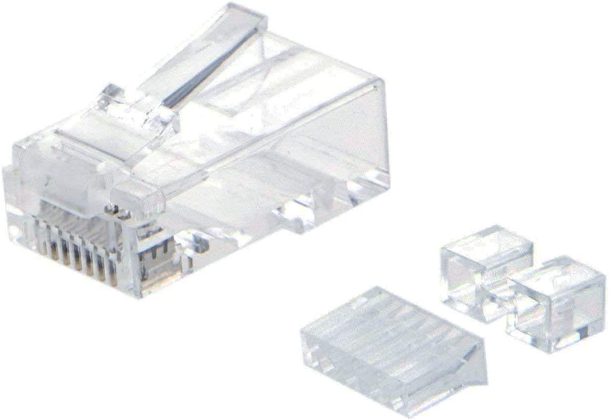 Transparent CableCreation 50-Pack Cat 6 RJ45 Plug with Hood Connector