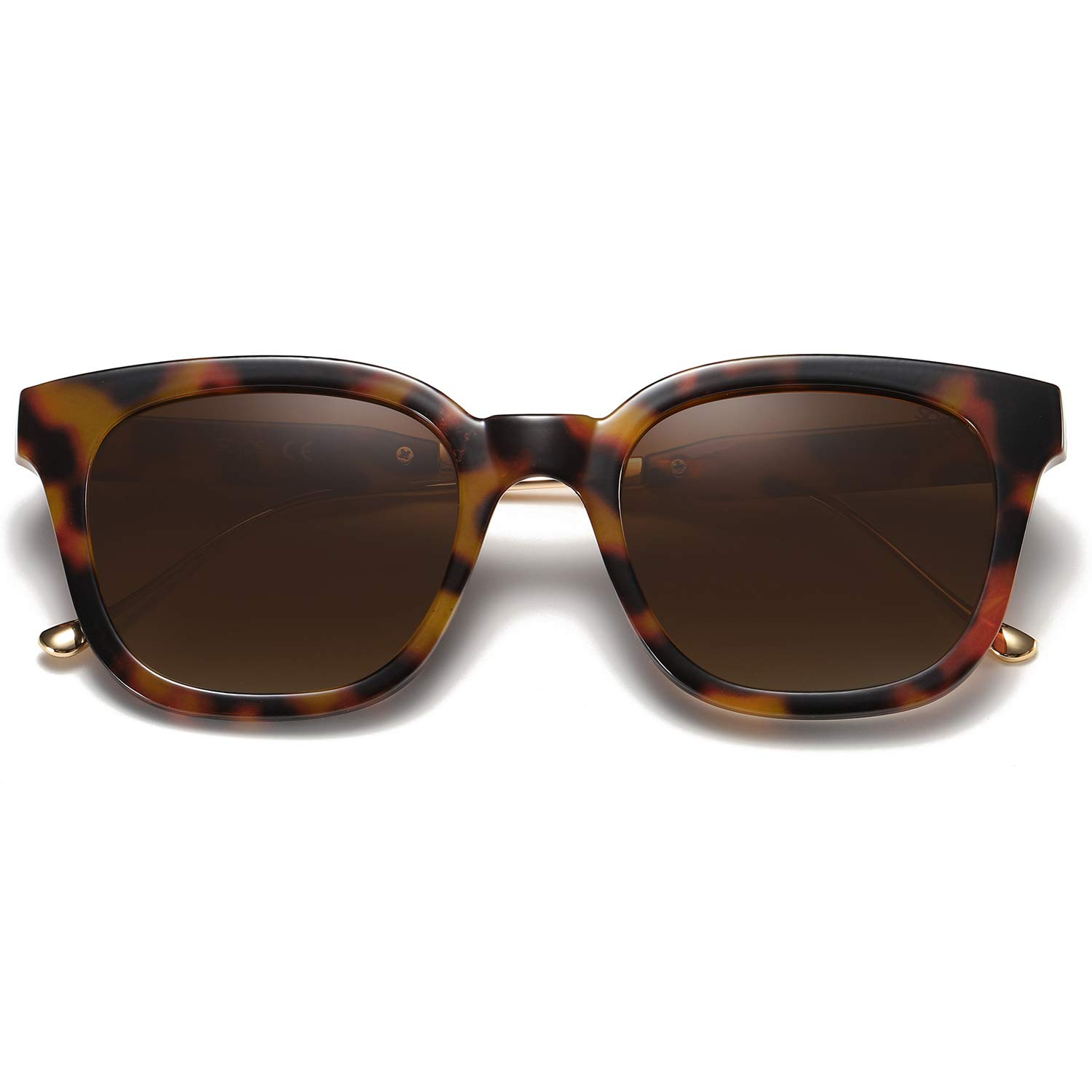 SOJOS Classic Square Polarized Sunglasses Unisex UV400 Mirrored Glasses SJ2050 with Tortoise Frame/Brown Lens by SOJOS
