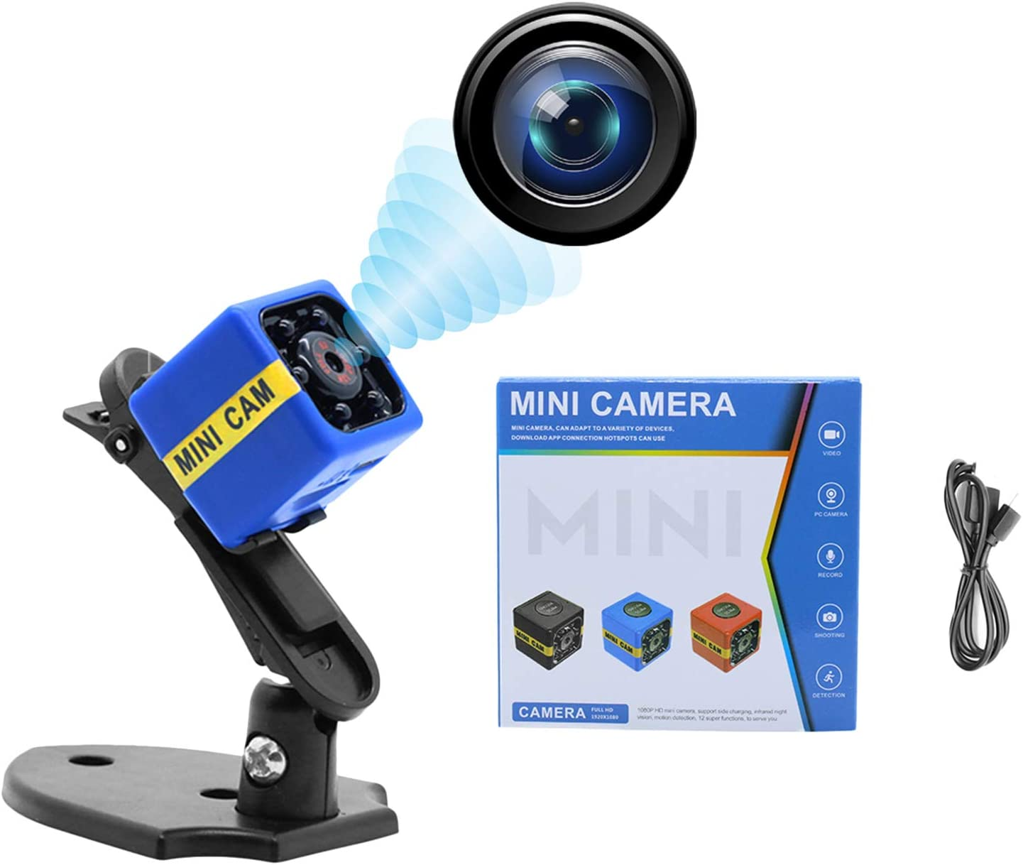 Mini Spy Camera, HD 1080P Portable Small Hidden Spy Cam, Portable Small HD Nanny Cam with Night Vision and Motion, Perfect Indoor Covert Security Camera for Home and Office, Built-in Battery(Blue)