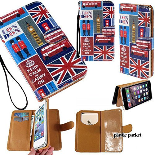 Universal PU Leather Purse/Clutch/Pouch/Wallet Fits Apple Samsung LG Motorola etc. Women's Wristlet Strap Case London Flag Big Ben Phone Booth Keep Calm and Carry On' - Small. Fits the Models below: (3g Mytouch T-mobile Design)