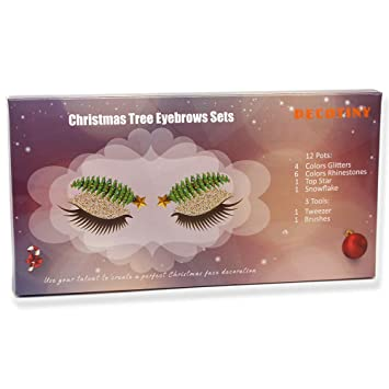 Christmas Tree Eyebrows Beauty Trend Makeup, 4 Pots Face Glitter Sets, 6  Pot Rhinestones Diamonds and