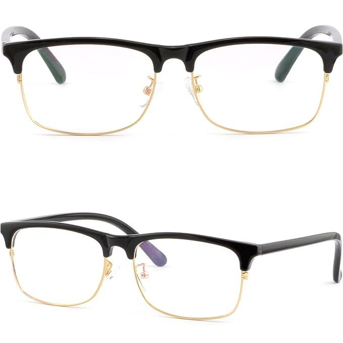 b37217fc2be Full Rim Plastic Black Browline Frames Gold Rim Prescription Glasses Men  Women  Amazon.ca  Clothing   Accessories