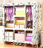 Portable Fabric Closet Wardrobe Cabinet Garment Clothing Storage Organizer with Shelves Double People Cloth Wardrobe Solid wood frame,N,59.9''42.5''