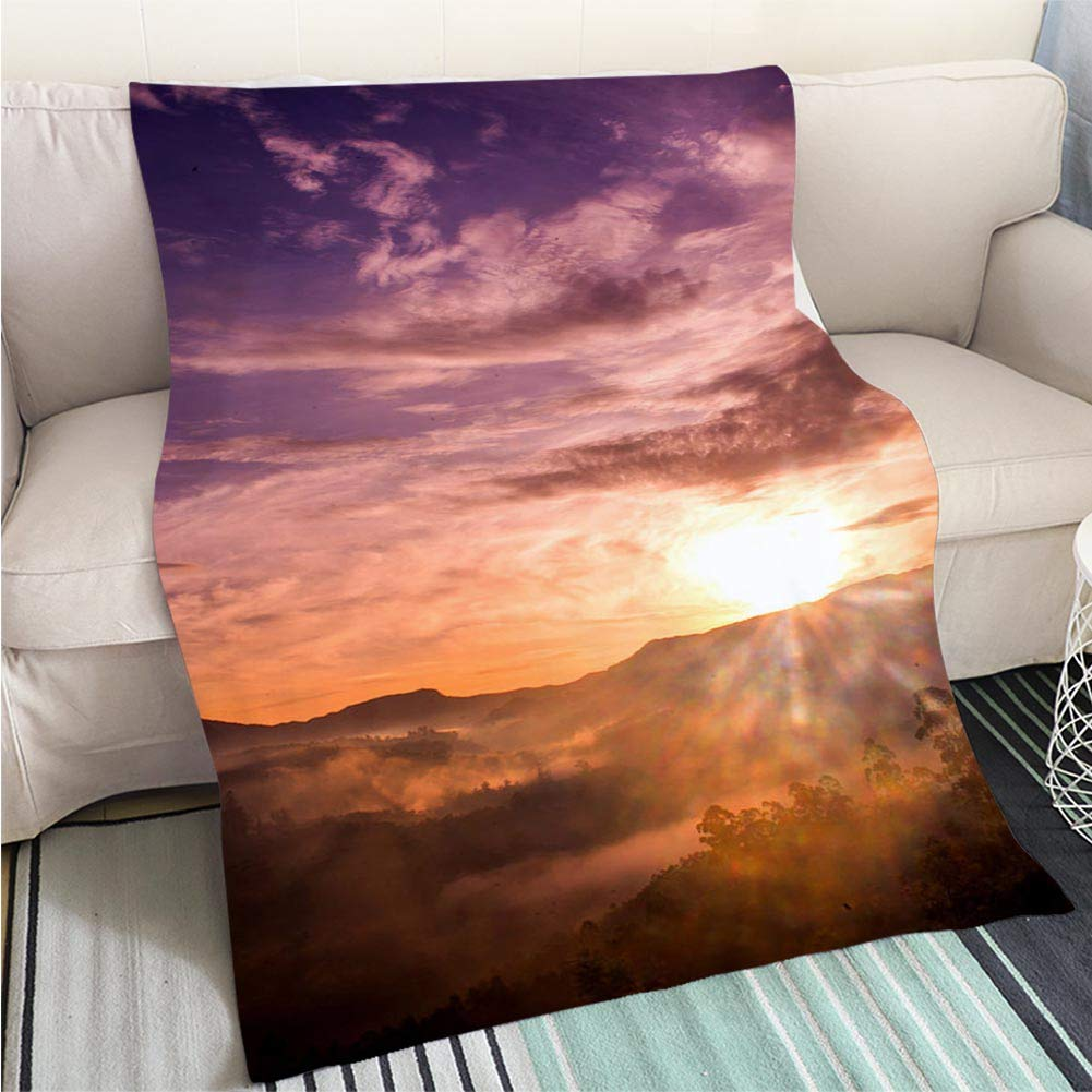 color9 47 x 59in Creative Flannel Printed Blanket for Warm Bedroom Majestic Sunset Over The Mountains Perfect for Couch Sofa or Bed Cool Quilt