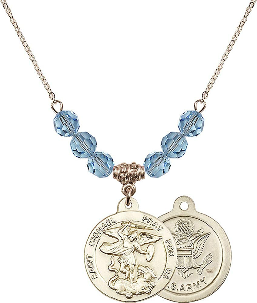 18-Inch Hamilton Gold Plated Necklace with 6mm Aqua Birthstone Beads and Saint Michael//Army Charm Aqua March Birthstone Patron Saint of Police Officers//EMTs