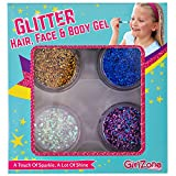 GirlZone GIFTS FOR GIRLS: Glitter Gels Makeup For Girls, Face, Hair & Body Cosmetic Glitter. Great Gift, Birthday Present Idea For Girls Age 4 5 6 7 8 9 10 Years Old