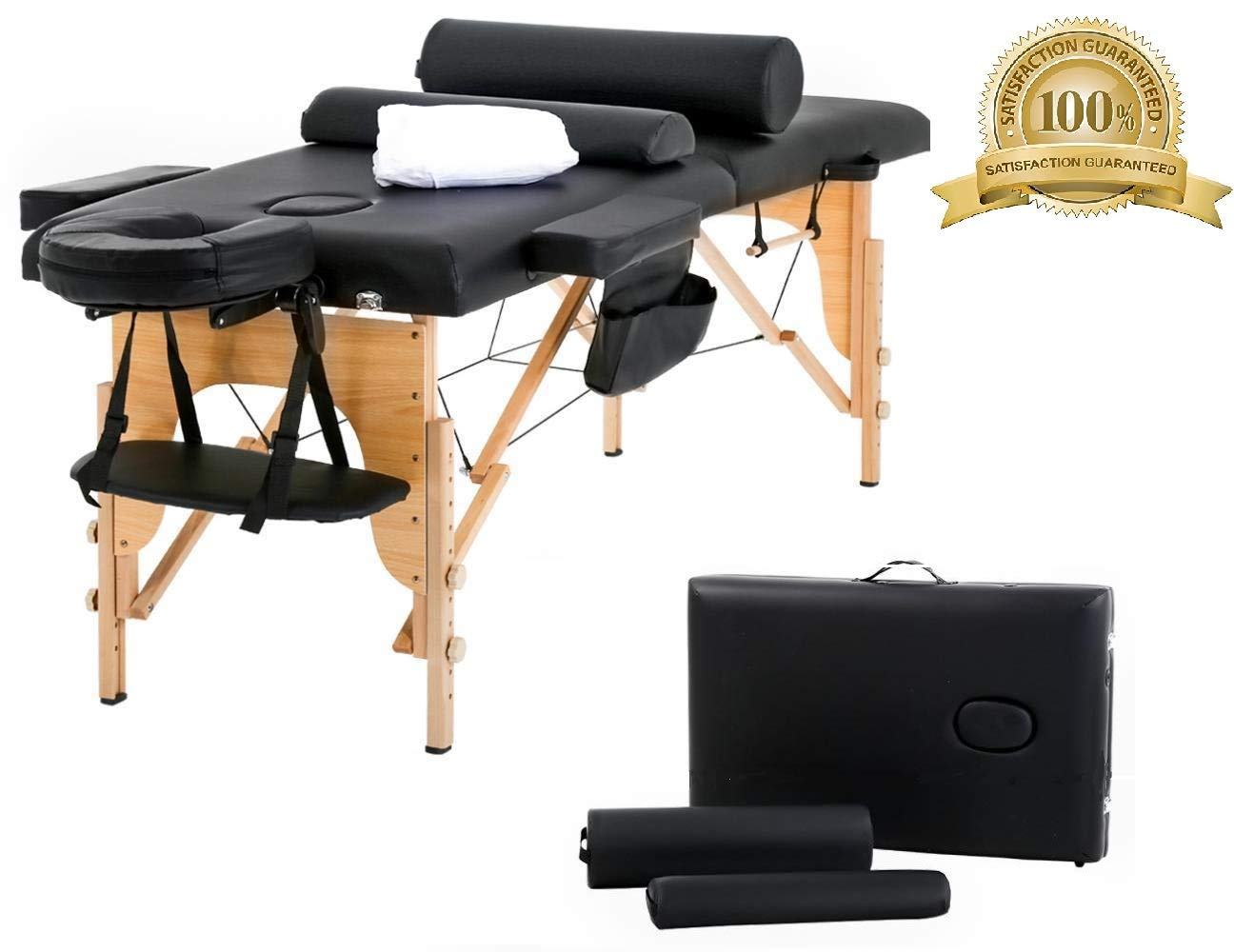 Portable Massage Table Esthetician Chiropractic Table 73''L 2 Fold Face Cradle Arms Adjustable Massage Spa Bed Durable Shiatsu Massager Wood Padded Waterproof Oil Resistant Lash Table w/Carry Case by massagenjoy
