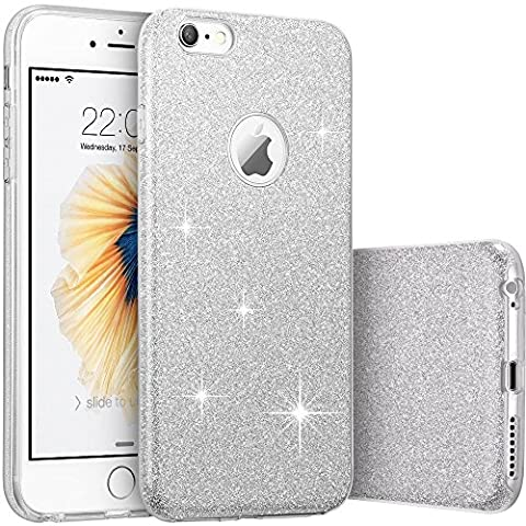 Berry Accessory Fashion Luxury [Shiny Series] [Bling Crystal] Ultra Thin Sparkle Premium 3 Layer Hybrid Anti-Slick/ Protective/ Soft Case Cover For iPhone 6/6S With Berry logo stand holder (Affinity Technology Speakers)