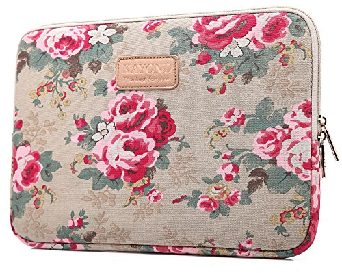 KAYOND KY-41 Canvas Fabric Sleeve for 14.1-inch Laptops - Peony Patterns (14.1, Apricot Peony)