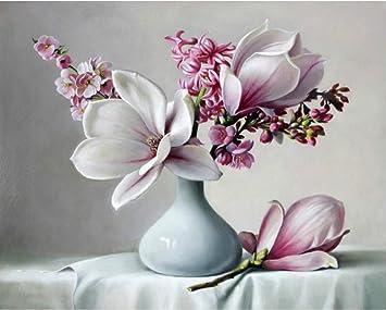 Sans Cadre Peinture Acrylique Magnolia Fleur Diy Peinture Par Numéro