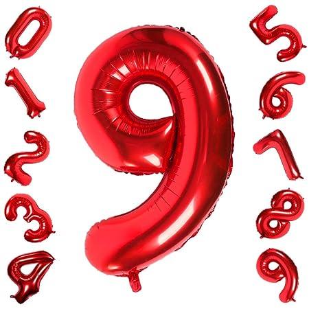 42 Pulgadas Grandes Globos Rojos Números 9, Jumbo Foil Helio Globos Digitales para Cumpleaños Fiesta de Aniversario de Boda Festival Decoraciones