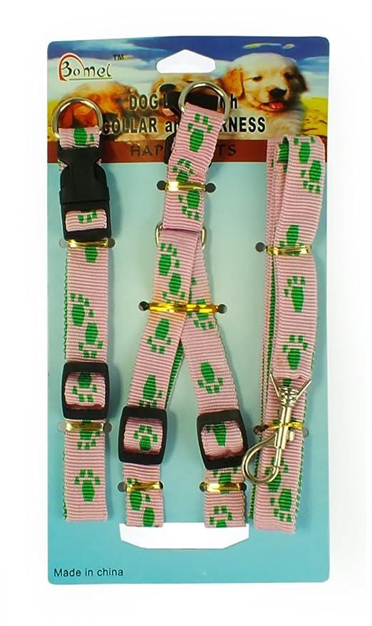 Tirador, collar y arnés para perro (Rosa con huellas verdes ...