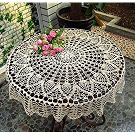 New Beige 36'' Round Handmade Crochet Sunflower Lace Table Cloth Doily N06 117 Made of 100% Washable Cotton, no fading after washing 36 inches(90cm) diameter round tablecloth 100% handmade tablecloth, crochet lace design