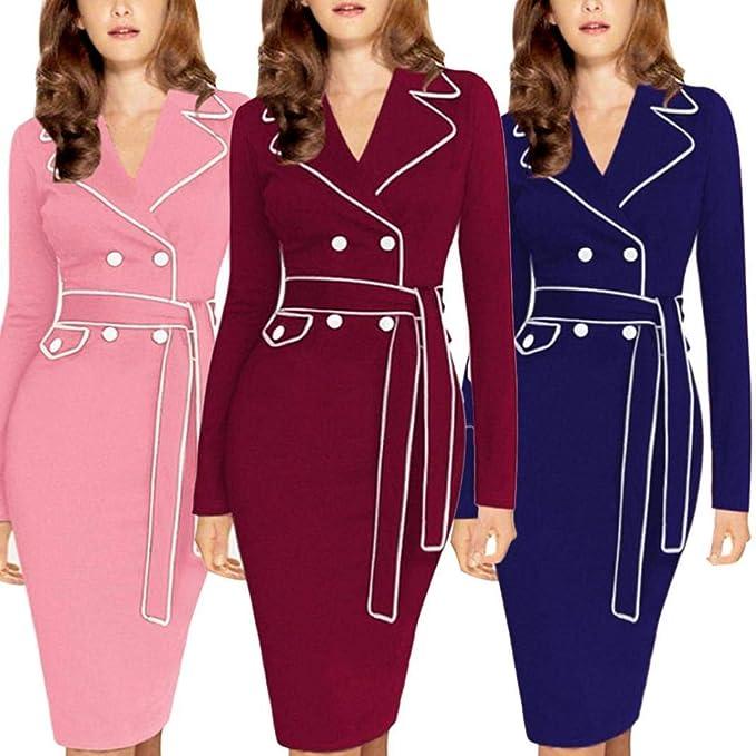 POLP Vestidos Cortos Mujer,Mujeres Falda Cintura Alta Elasticidad Bodycon Tubo Falda Oficina,Vestidos