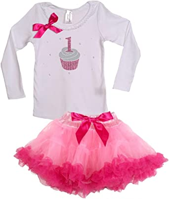 Bubblegum Divas Baby Girls 1st Birthday Long Sleeve Ruffle Shirt