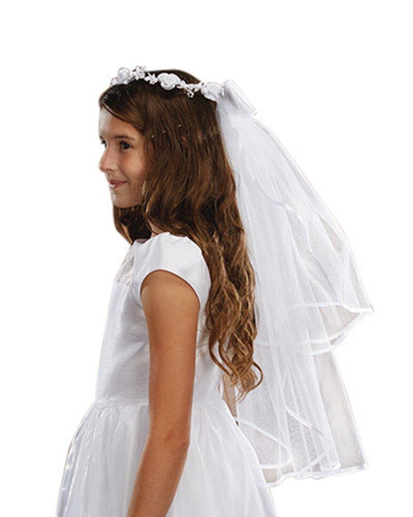 Girls First Communion White Satin and Tulle Veil with Floral Tiara, 26 Inch