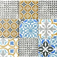 Retro Vintage Mosaico Azulejos Cerámica Crema Azul Naranja