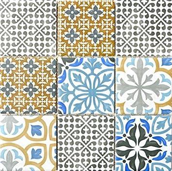 Retro Vintage Mosaik Fliese Keramik Creme Blau Orange Grau Matt Für BAD WC  DUSCHE KÜCHE FLIESENSPIEGEL