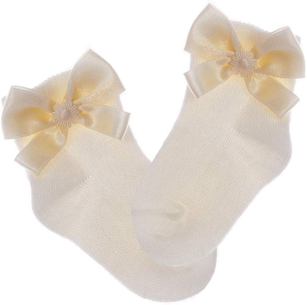 La Bortini Babysocken Creme Socken Schleifchen Str/ümpfe Baby und Kinder Fest 15-24