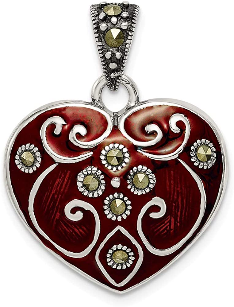 925 Sterling Silver Red Enamel and Marcasite Heart Pendant Charm 28mm x 21mm