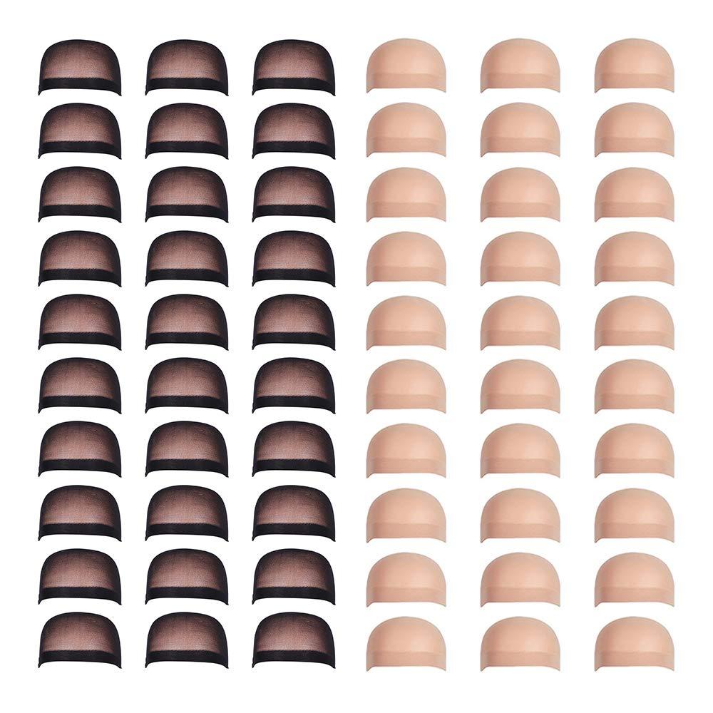 Fani 60 Pieces Nylon Wig Caps Wholesale Elastic Stocking Wig Cap Stretchy Close End Wig Caps 30 Pcs Natural Nude Beige and 30 Pcs Black Color by fani