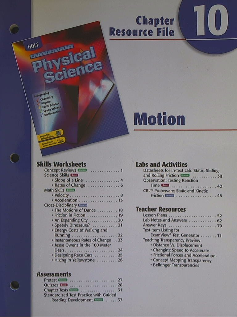 Science Spectrum Physical Science Chapter 10 Resource File