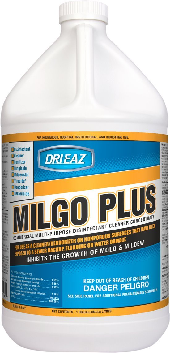 Dri-Eaz F447 Milgo Plus Disinfectant Cleaner/Sanitizer Concentrate, 1 Gallon Bottle (Case of 4)