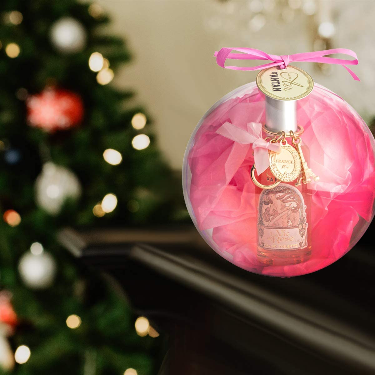 Caja Belleza en Bola de Arbol de Navidad,1 Eau de Toilette de Mujer Rose y 1 llavero de la Torre Eiffel Paris|Perfume Melocotón, Petalos de Rosa, Pachulí, Aroma Floral y Dulce, Colonia