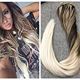 """Ugeat 24"""" Balayage Ombre Human Hair Clip in Extensions 9Pcs 120Gram Full Head Set Clip on Remy Human Hair Extensions Thick End Balayage Color 2 Brown Fading to Color 12 and 60 Blonde"""