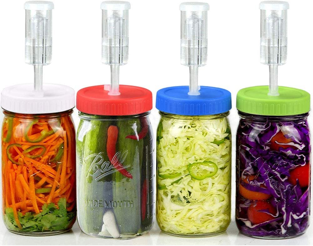 Fermentation Lids for Wide Mouth Jars- K KERNOWO 4 Pack Fermented Kit with Extra Vacuum Pumps and Grade Silicon Grommets, Perfect for Any Fermented Probiotic Foods. (jars not incld)