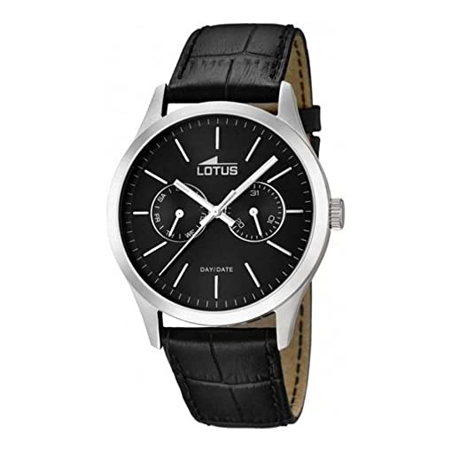 LOTUS MINIMALIST 15956/3 BLACK LEATHER ANALOG QUARTZ MENS WATCH