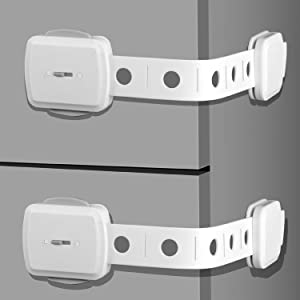 Child Safety Cabinet Locks, SGAGO 10 Pack Baby Proofing Fridge Lock with Double Locks Super Strong Adhesive Adjustable Baby Safety Strap Locks for Fridge Cabinets Drawers Dishwasher Toilet