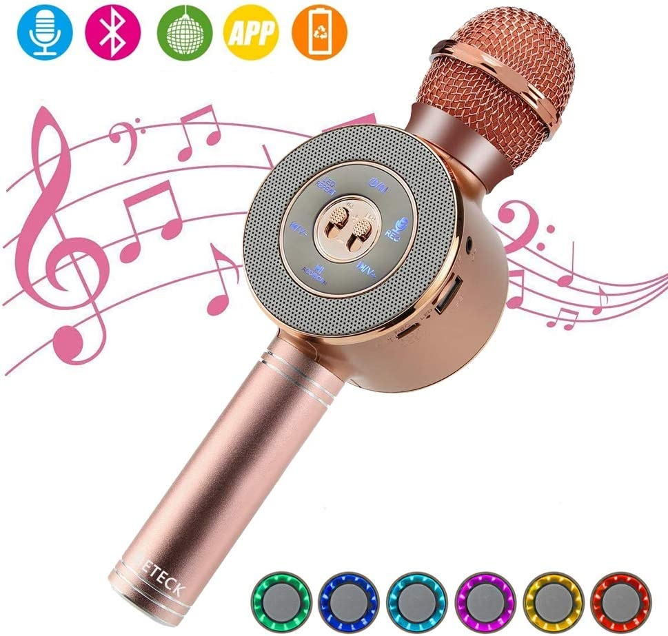 BETECK Micrófono Inalámbrico Karaoke Bluetooth Portátil con LED Luces de Colores, Soporta TF Tarjeta, AUX, Memoria USB, Compatible con Android/iOS Smartphone iPad PC para KTV Cantar Musica