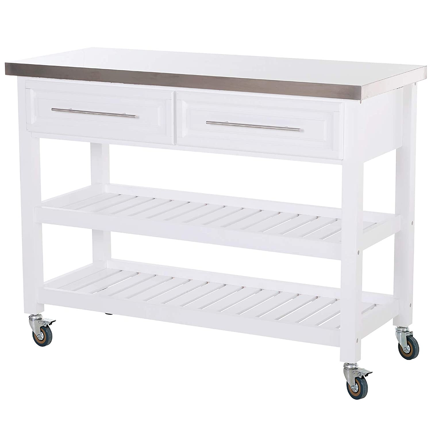 HOMCOM Rolling Kitchen Island Cart with Drawers, Shelves, and Stainless Steel Top – White