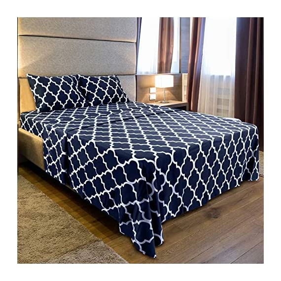 Utopia Bedding Printed Bed Sheet Set - 1 Fitted Sheet, 1 Flat Sheet and 2 Pillowcases - Soft Brushed Microfiber Fabric - Shrinkage and Fade Resistant (Queen, Navy Quatrefoil with White Pattern) - BED SHEET SET - Includes 1 flat sheet measuring 90 by 102 inches with a 4 inches self-hem; 1 fitted sheet measuring 60 by 80 inches with a 15 inches box for over sized bedding and 2 pillowcases measuring 20 by 30 inches each BRUSHED MICROFIBER - Polyester brushed microfiber fabric is twice as fine as silk that gives a soft feel and maximum comfort SOFT AND COMFORTABLE - Soft and comfortable material gives you the best of sleeping experience - sheet-sets, bedroom-sheets-comforters, bedroom - 61Bx0xIDriL. SS570  -