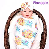 LINFON Newborn Baby Sleep Print Swaddle Blanket Large and Bow Headband Value Set Receiving Blankets (Pineapple)
