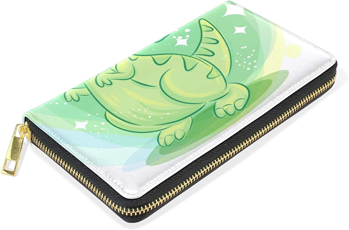 Cute Baby Dinosaur Leather Womens Zipper Wallets Clutch Coin Case