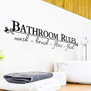 Bathroom Rules Wash Brush Floss Flush Removable Quotes Wall Stickers Vinyl Art Home Decor Decal for Bathroom (Black)