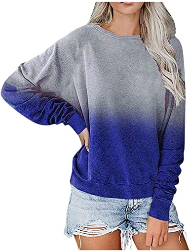 Womens Long Sleeve Tops,Women Casual Pullover Tops Tie Dye Long Sleeve Sweatshirt Blouses