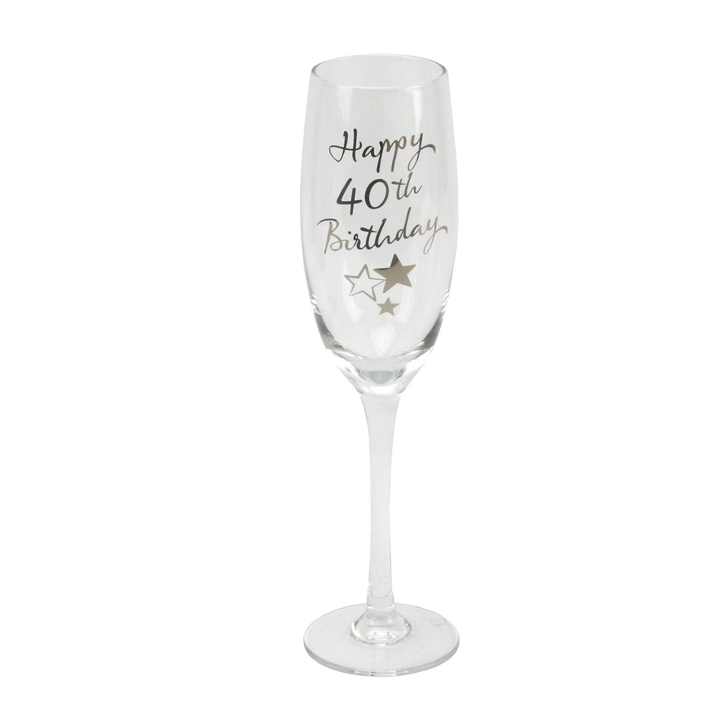 40th Birthday Stars Champagne Flute Glass Gift Widdop G31840