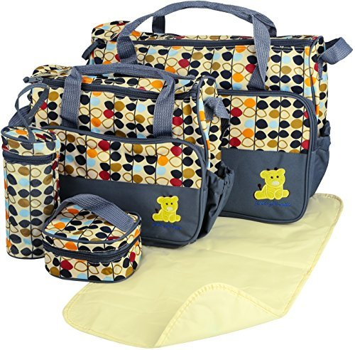 GPCT Baby Diaper Tote Stylish Nappy Messenger Insulated Bag 5 Piece Set. Large Medium Handbag, Food/Bottle Bag, Shoulder Straps. Great Washable Convertible Bag- Mom & Dad. Best Baby Shower Gift! ()