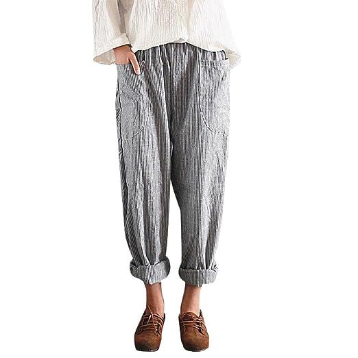 875e0e27e8e IEason-pants Women High Waist Vintage Striped Loose Cotton Linen Long  Trousers Harem Pants (