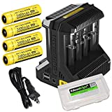 Nitecore Intellicharge i8 eight Bays universal battery charger, Four Nitecore 18650 NL189 Li-ion 3400mAh rechargeable batteries with EdisonBright BBX3 battery carry case