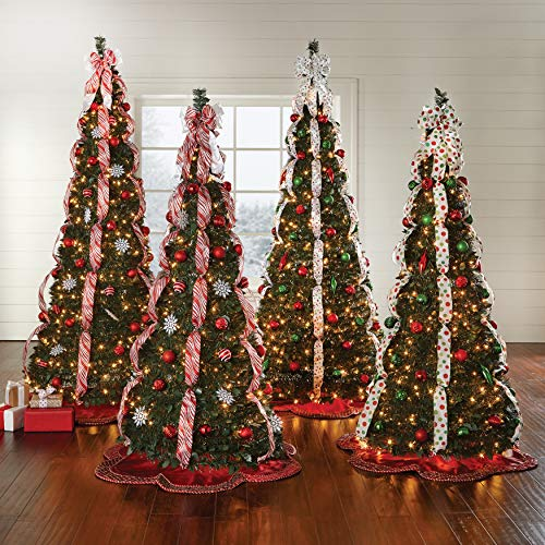BrylaneHome Fully Decorated Pre-Lit 6-Ft. Pop-Up Christmas Tree, Red White