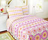 Cozy Line Home Fashions Vivid Sunflower Quilt Bedding Set, Orange Pink Green Flowers Print, 100% Cotton Reversible Bedspread, Coverlet, Gifts for Girls, Kids (Pink Sunflower, Twin - 2 Piece)