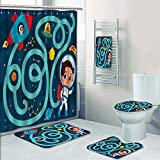 PRUNUSHOME 5-piece Bathroom Set-Includes Shower Curtain Liner,space boy vector of maze game Decorate the bathroom(Small)