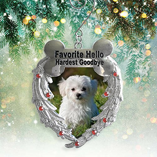 Banberry Designs Dog Memorial Photo Christmas Ornament - Favorite Hello Hardest Goodbye Saying - Loss a Dog Ornament - Pewter Angel Photo Frame Ornaments